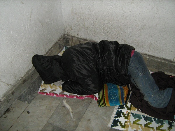 Cement floor as a bed!