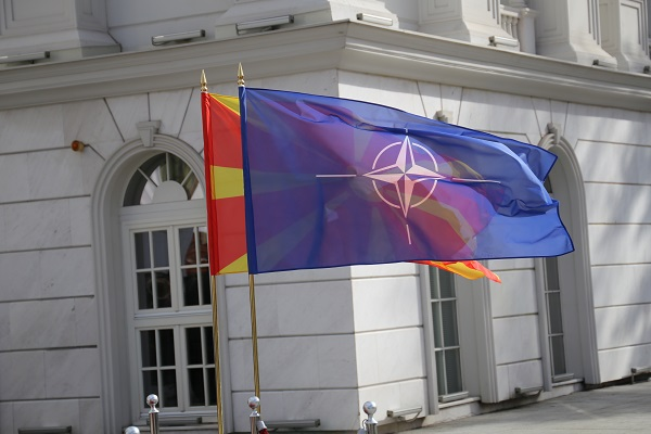 NATO and Macedonian flag